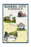Rogers City, Michigan - Nautical Chart Prints by  Lantern Press