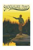 Snoqualmie Pass, Washington - Fisherman Casting Posters by  Lantern Press