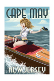 Cape May, New Jersey - Boating Pinup Girl Prints by  Lantern Press