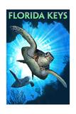 Florida Keys - Sea Turtle Diving Print van  Lantern Press
