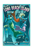 Long Beach Island, New Jersey - Mermaids Vintage Sign Posters by  Lantern Press