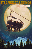 Steamboat Springs, Colorado - Ski Lift and Full Moon Posters by  Lantern Press