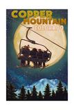 Copper Mountain, Colorado - Ski Lift and Full Moon Posters par  Lantern Press