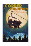 Copper Mountain, Colorado - Ski Lift and Full Moon Posters by  Lantern Press