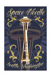 Space Needle Tattoo Style - Seattle, WA Posters by  Lantern Press