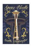 Space Needle Tattoo Style - Seattle, WA Posters by  Lantern Press