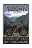 Route of the Hiawatha St. Regist, Montana - Mountain Bike Scene Schilderij van  Lantern Press