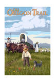 The Oregon Trail - Wagon Scene Print by  Lantern Press