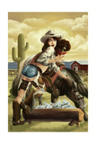 Cowgirl Pinup Prints by  Lantern Press