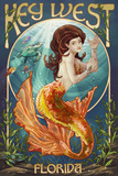 Key West, Florida - Mermaid Prints by  Lantern Press