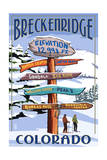 Breckenridge, Colorado - Snow Signpost Prints by  Lantern Press