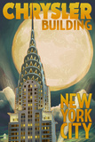 Chrysler Building and Full Moon - New York City, NY Posters by  Lantern Press