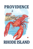 Providence, Rhode Island - Lobster and Lighthouse Prints by  Lantern Press