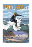 Palos Verdes, California - Surfer Prints by  Lantern Press