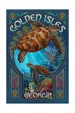 Golden Isles, Georgia - Sea Turtle Art Nouveau Prints by  Lantern Press