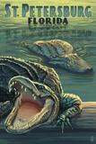 St Petersburg, Florida - Alligators Plakat af Lantern Press