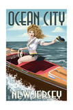 Ocean City, New Jersey - Boating Pinup Girl Posters