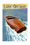 Lake George, New York - Wooden Boat on Lake Posters