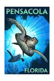 Pensacola, Florida - Sea Turtle Diving Posters van  Lantern Press