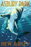 Asbury Park, New Jersey - Stylized Shark Posters by  Lantern Press