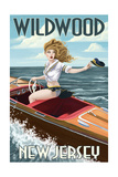 Wildwood, New Jersey - Boating Pinup Girl Poster by  Lantern Press