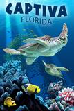 Captiva, Florida - Sea Turtle Swimming Schilderijen van  Lantern Press
