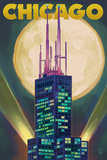 Chicago, Illinois - Willis Tower and Full Moon Art by  Lantern Press