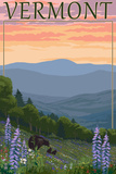 Vermont - Spring Flowers and Bear Family Prints by  Lantern Press