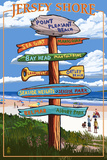 Point Pleasant Beach, New Jersey - Destinations Signpost Prints by  Lantern Press