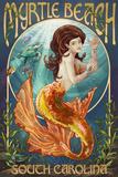 Myrtle Beach, South Carolina - Mermaid Kunst von  Lantern Press