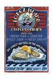 Oyster Bar Vintage Sign - Lopez Island, Washington Print by  Lantern Press