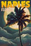 Naples, Florida - Palm and Moon Prints by  Lantern Press