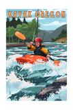 Kayak Oregon - River Scene Posters by  Lantern Press