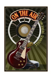 Lynchburg, Tennessee - Guitar and Microphone Art by  Lantern Press