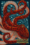 Seattle, Washington - Octopus Mosaic Art by  Lantern Press