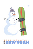 Gore Mountain, New York - Snowman with Snowboard Posters