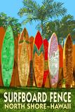 North Shore, Hawaii - Surfboard Fence Posters par  Lantern Press