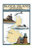Block Island, Rhode Island - Nautical Chart with Ferry Poster