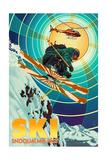 Snoqualmie Pass, Washington - Heli-Skiing Posters by  Lantern Press
