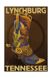 Lynchburg, Tennessee - Boot Poster by  Lantern Press