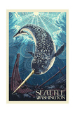 Seattle, Washington - Narwhal Art by  Lantern Press