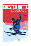 Crested Butte, Colorado - Colorblocked Skier Poster by  Lantern Press