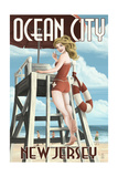 Ocean City, New Jersey - Lifeguard Pinup Girl Posters by  Lantern Press