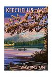 Keechelus Lake, Washington - Lake Scene at Dusk Print by  Lantern Press
