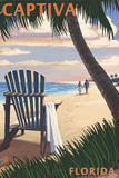 Captiva, Florida - Adirondack Chair on the Beach Prints by  Lantern Press