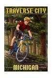 Traverse City, Michigan - Mountain Biker in Trees Posters van  Lantern Press
