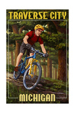 Traverse City, Michigan - Mountain Biker in Trees Prints by  Lantern Press