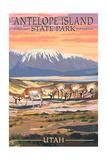 Antelope Island State Park, Utah - Antelope Scene Print by  Lantern Press