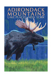 The Adirondacks - Lake Placid, New York State - Moose at Night Prints by  Lantern Press