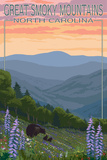 Great Smoky Mountains, North Carolina - Spring Flowers and Bear Family Affiche par  Lantern Press